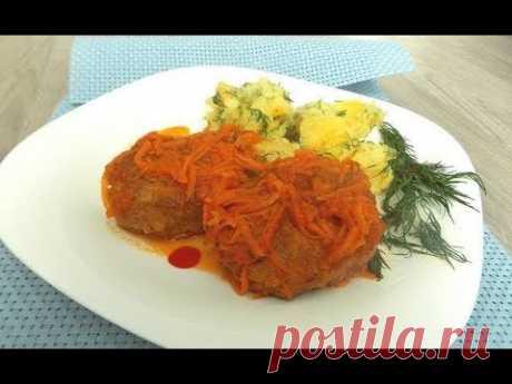 Котлеты из рыбы с хлебом тушенные с морковью и луком