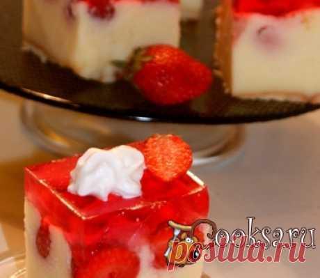 Необычный торт с клубничным желе фото рецепт приготовления