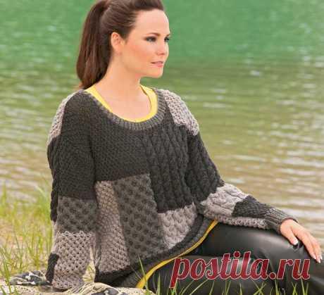Пуловер с рельефными узорами - схема вязания спицами. Вяжем Джемперы на Verena.ru