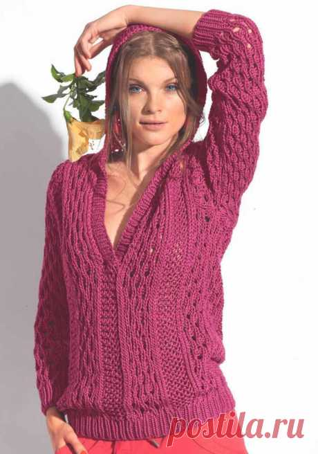 Pink pullover spokes with a hood - the Portal of needlework and fashion