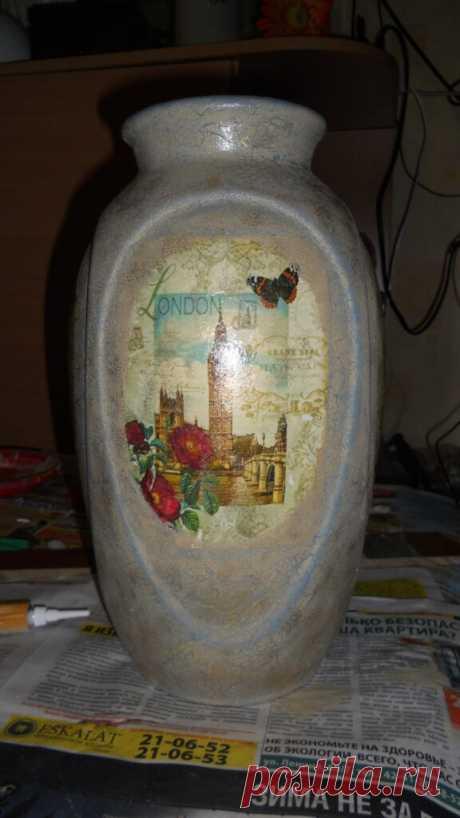 Декупаж напольной вазы из керамики в винтажном стиле