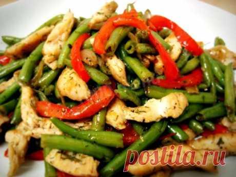 Теплый салат с фасолью стручковой рецепт с фото пошагово - 1000.menu