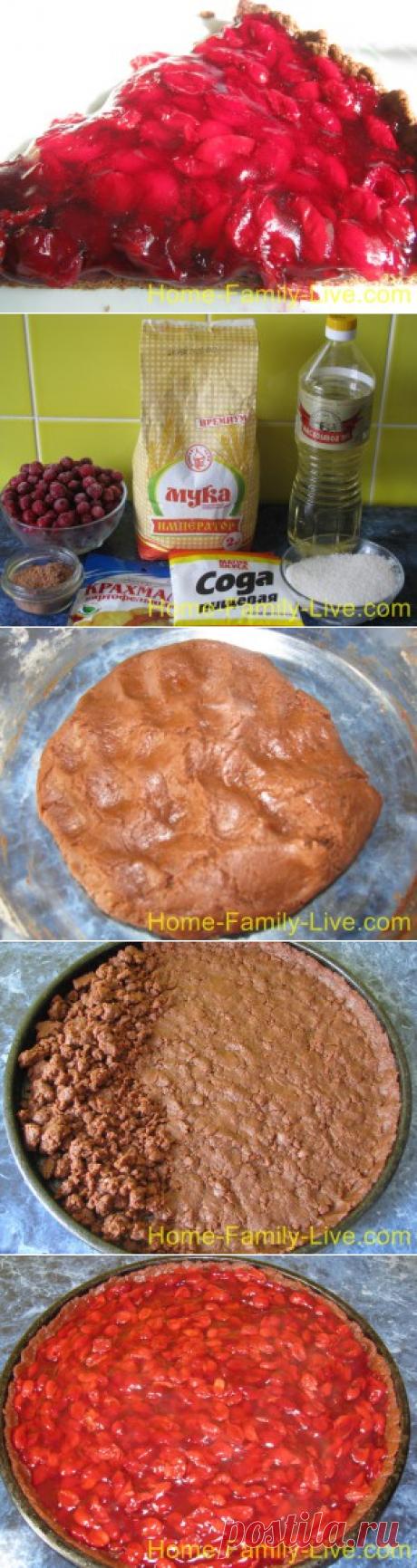 Вишневый пирог - пошаговый фоторецепт - постное блюдоКулинарные рецепты
