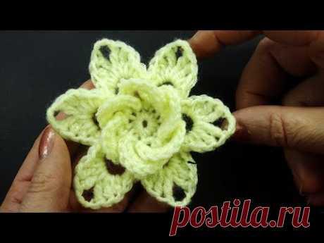 ПРОСТОЙ СИМПАТИЧНЫЙ цветок крючком Crochet flower pattern  102 - YouTube