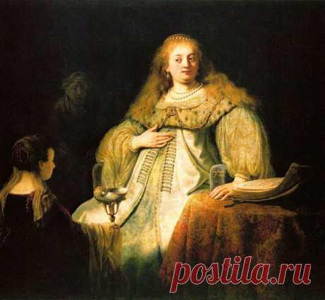 Софонисба принимает чашу с ядом - Харменс ван Рейн Рембрандт. 1634. Холст, масло. 142x154. Выставлена в музее: Музей Прадо. Картина «Софонисба принимает чашу с ядом» является ранним произведением Рембрандта (1606-1669). В облике героини угадывается портрет жены художника Саскии. Софонисба в роскошном одеянии, не скрывающем будущего материнства, в украшениях с жемчугами сидит у стола, покрытого ковром, на котором лежит манускрипт.