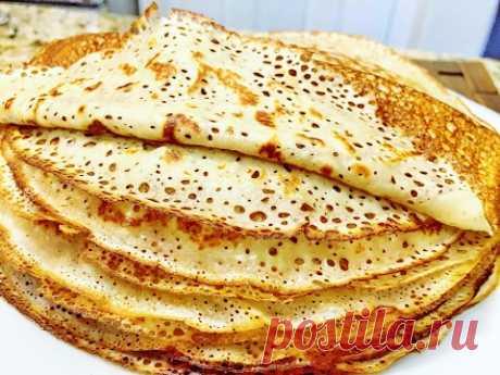 THIN RUSSIAN PANCAKES, lacy, very tasty. The company recipe from Mileniya.