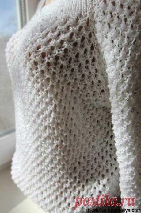 Пуловер узором сетка Пуловер узором сетка спицами.Красивая ажурная сетка спицами