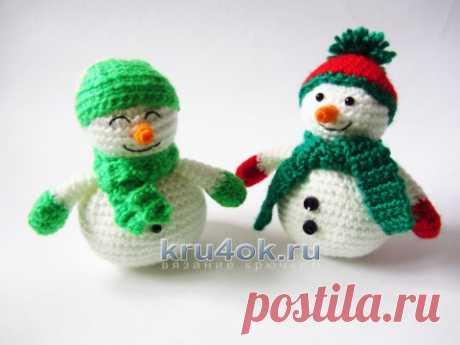 Вязаные крючком снеговики амигуруми. Работы Екатерины Алешиной