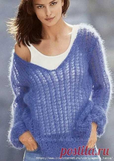 Лёгкий пуловер из мохера.