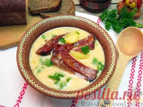 Пидбывани крумпли с копчёными рёбрышками (закарпатский суп). Этот суп с необычным названием принадлежит к закарпатской кухне. Пидбывани крумпли - простой, но в тоже время сытный и очень вкусный сметанный суп с картошкой. В этом регионе все супы на сметане - пидбывани. Приготовьте такой суп с копчёными рёбрышками, вам обязательно понравится. Нежный вкус сметаны отлично сочетается с ярким и богатым ароматом копчёных рёбрышек.