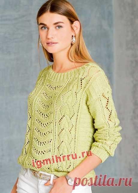 Летний пуловер с волнистым узором и «косами». Вязание спицами со схемами и описанием