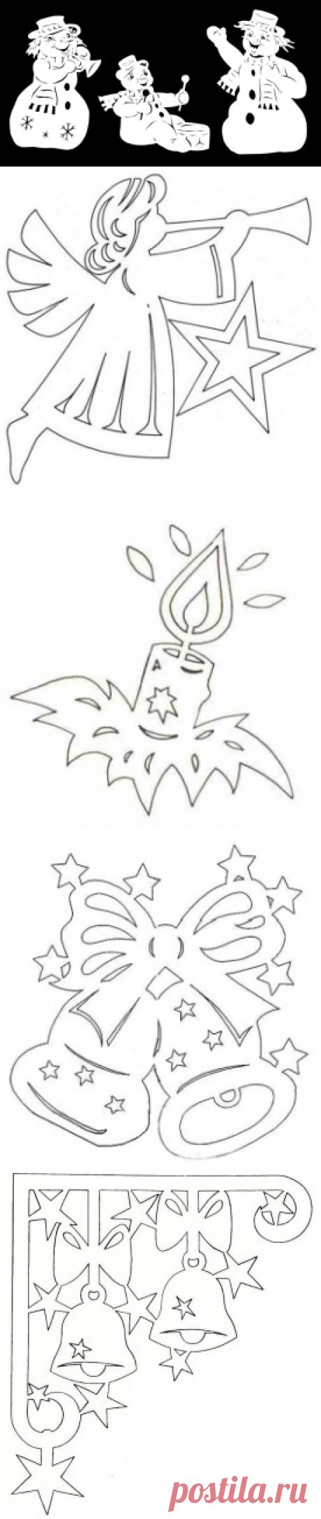 Новогодние шаблоны для вырезания из бумаги на окна 2017