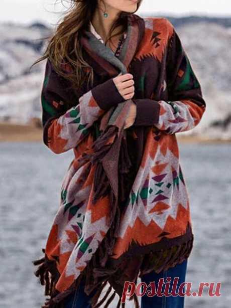 Осенняя богемная накидка с кисточками, пончо, женская зимняя теплая накидка, длинный рукав, кардиган, пальто с кисточками, отделка для дам|
