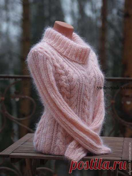 Beautiful sweater from a mohair. Models of jumpers from a mohair of manual knitting