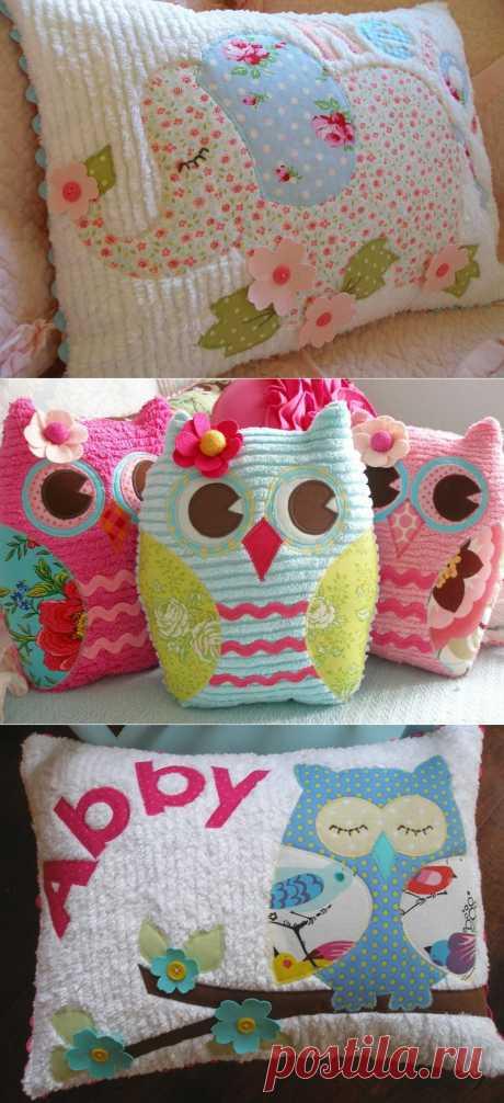 Декоративные винтажные, детские подушки и игрушки в технике синель.