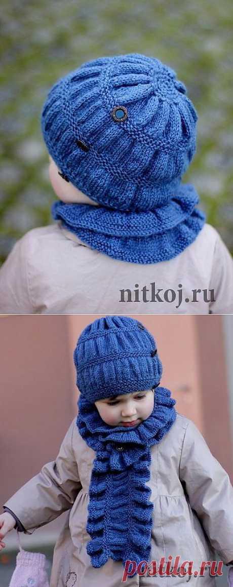 Детская шапочка спицами + шарф » Ниткой - вязаные вещи для вашего дома, вязание крючком, вязание спицами, схемы вязания