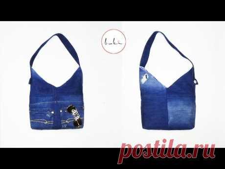 Буки | Изготовление джинсовых сумок | Сделай сам Джинс Учебник Старая Джинс Идея