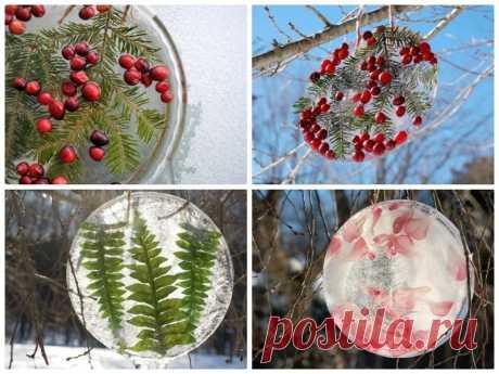 Ледовые игрушки на новогоднюю елку (8фото)