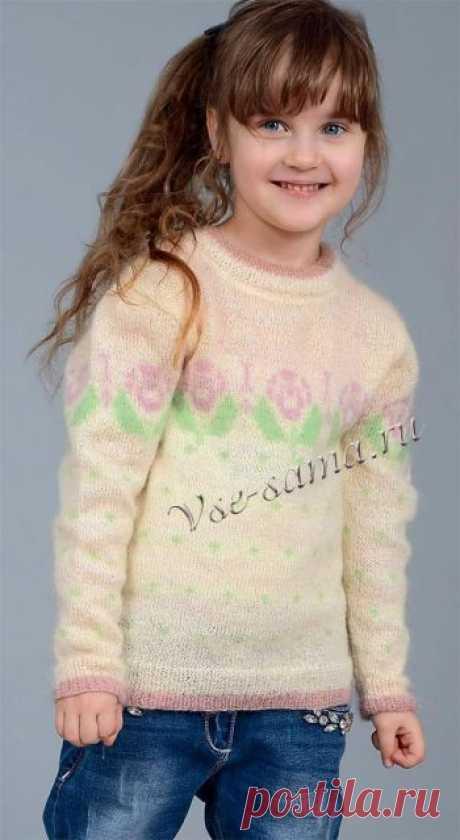 Пуловер для девочки молочного цвета