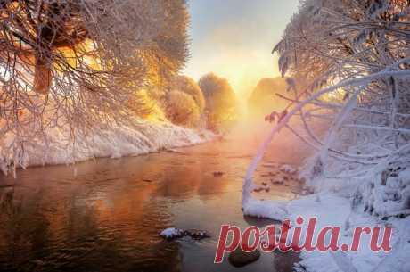 Рассвет на зимнем ручье около Санкт-Петербурга. Автор фото — Эдуард Гордеев: