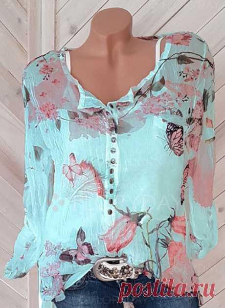 Pубашки Длинные рукава Цветочный принт V-образный - Floryday