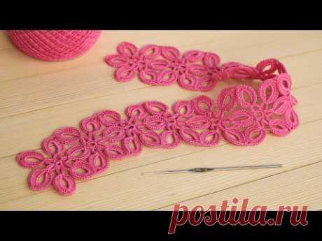 ЦВЕТОЧНОЕ КРУЖЕВО вязание крючком МАСТЕР-КЛАСС ЛЕНТОЧНОЕ КРУЖЕВО Crochet ribbon lace