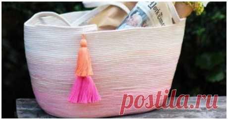 Мастерица сшила бельевую веревку цветными нитками, чтобы сделать практичную и красивую сумку - Своими руками ...
