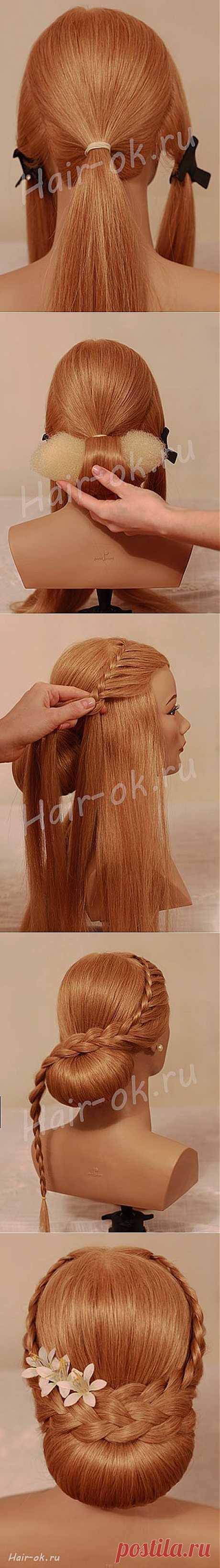 Вечерняя прическа с двумя косами. Сам себе парикмахер   Умелые ручки