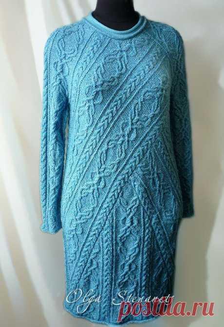 Красивое вязаное платье с переплетением узоров (с описанием) | Идеи рукоделия | Яндекс Дзен
