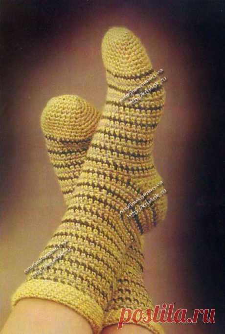 Полосатые носки, связанные крючком - вязание крючком на kru4ok.ru