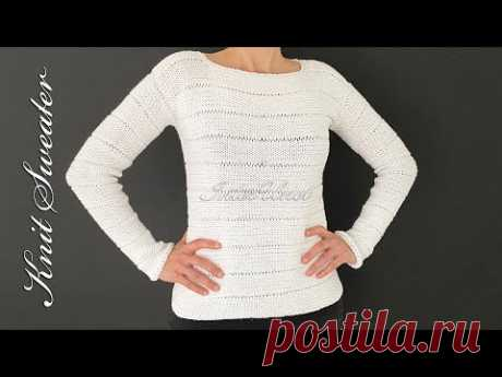 How to knit a sweater - long sleeve striped sweater knitting pattern