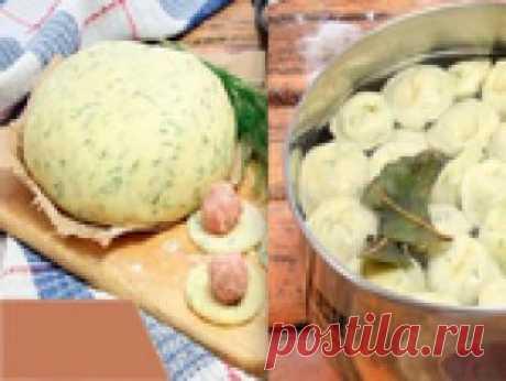 Тесто для пельменей на кефире с зеленью