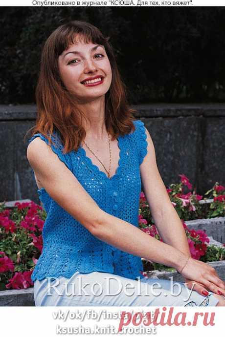 Вязанный крючком летний топик на пуговицах :: Летние вещи :: Женская одежда :: Вязание крючком/Women's crocheted pullovers :: RukoDelie.by