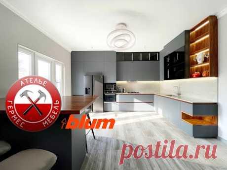 Fenix Кварц и Шпон. Масштабная кухня в Анапе. № 130.
