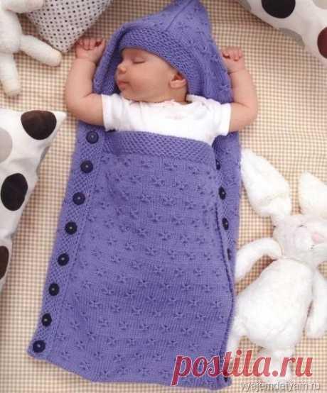 СПАЛЬНИК С КАПЮШОНОМ  #вязание #описание @vrukodeli  Спальник - конверт спицами очень удобный для сна вашего малыша, ведь в нем малыш не раскроется, а значит будет спокойно спать в тепле и уюте. Такой конверт для новорожденного спицами вы можете связать сами.  Размер: 0 (3) месяца Ширина: 34 (40.5) см. Длинна: 63.5 (78.5) см. Вам потребуется: 6 (9) мотков пряжи Cascade Yarns 220 Superwash Sport (мерино), 50 г./125 м., фиолетового цвета, (код 844), прямые спицы 4 мм., длинн...