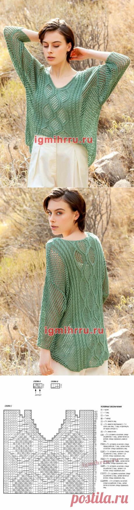 Зеленый пуловер с ажуром и «косами». Вязание спицами со схемами и описанием