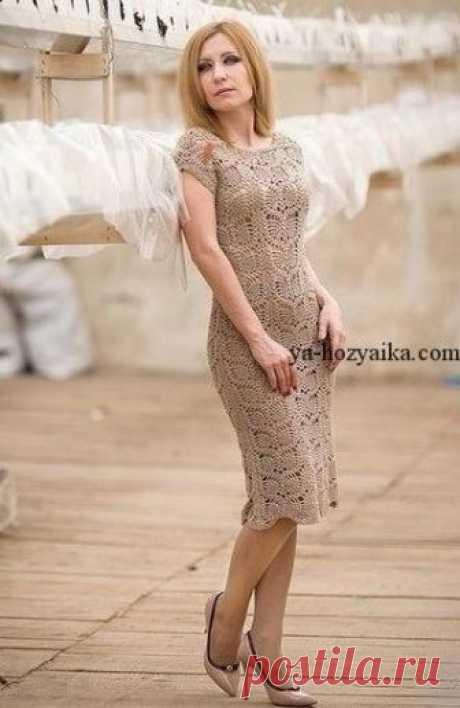 Красивое платье крючком узором ананас. Платье ананасами схемы