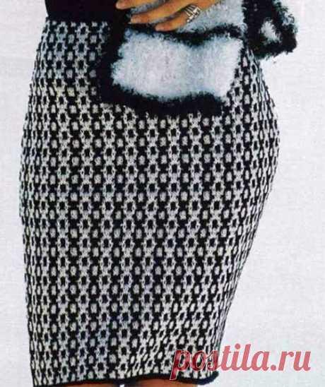 Монохромная юбка спицами из категории Интересные идеи – Вязаные идеи, идеи для вязания