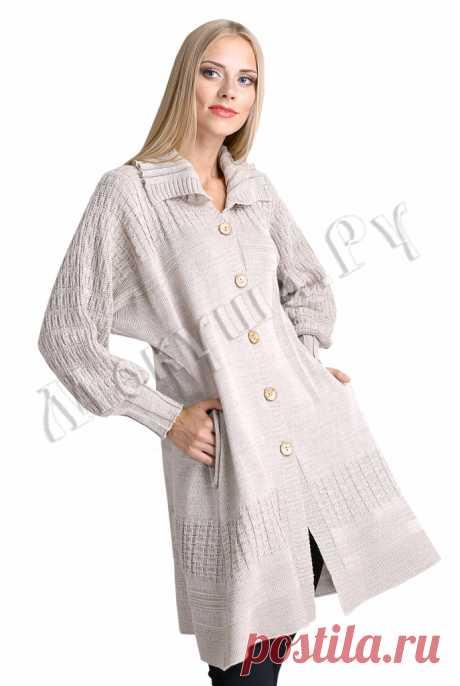 """Вязаный кардиган-пальто - Пальто и куртки - Магазин вязаной одежды из льна """"Мокуша"""""""