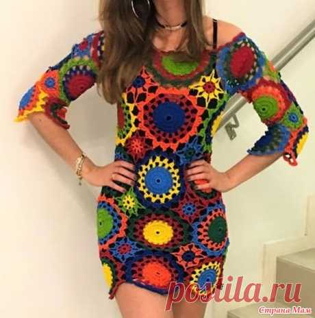 Цветотерапия: туника-платье из мотивов Outstanding crochet. Онлайн. - Вяжем вместе он-лайн - Страна Мам