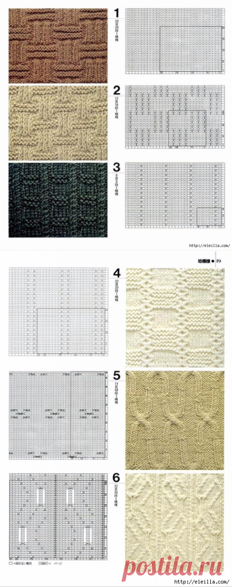 Patterns for spokes. Schemes of knitting.