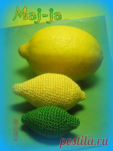 Вязаные фрукты: вязаный лимон