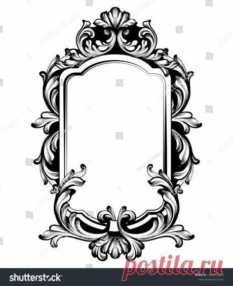 Стоковая векторная графика «Vintage Luxury Mirror Frame Vector Baroque» (без лицензионных платежей), 1083223424: Shutterstock