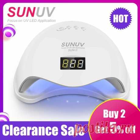 SUNUV SUN5 48 Вт двойной СВЕТОДИОДНЫЙ УФ светодиодные лампы для ногтей сушилка гель лак отверждения свет с нижней 30 s/60 s таймер ЖК дисплейкупить в магазине SUNUV Official StoreнаAliExpress