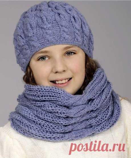 Шапка и шарф с узором косы (Вязание спицами) – Журнал Вдохновение Рукодельницы
