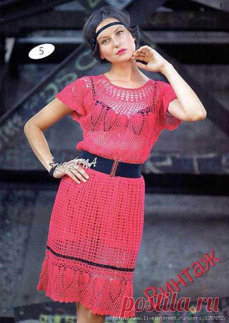 Красное ажурное платье.