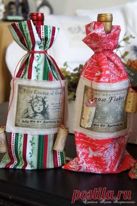 Идеи оформления бутылок со спиртным к Новогодним праздникам