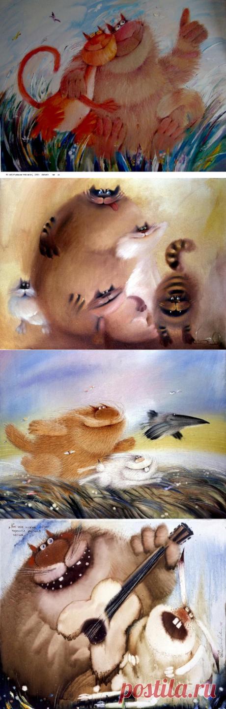 Прикольные коты художника Валерия Хлебникова