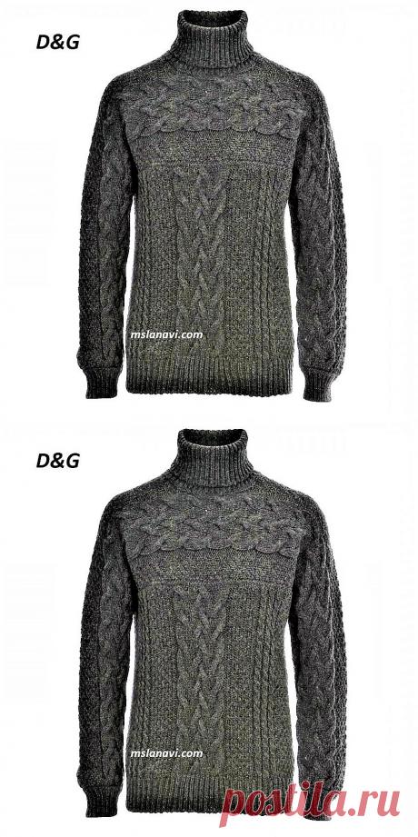 Мужской свитер спицами от D&G | Вяжем с Лана Ви