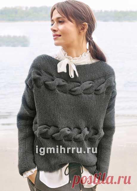 Шерстяной пуловер с поперечными «косами». Вязание спицами